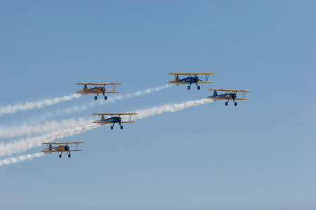 Vintage airplanes flying in formation