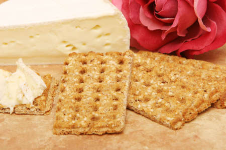 brie: Brie cheese and wheat crackers