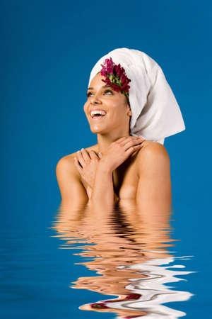 Beautiful woman in day spa photo