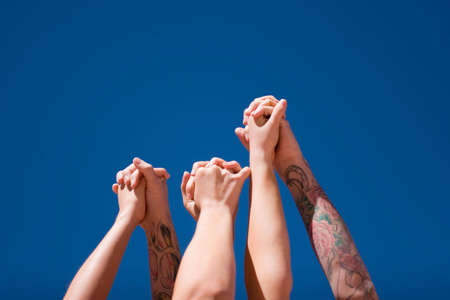 Group of people hands in the air Stock Photo - 3030642