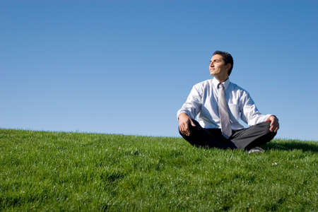 Businessman meditating on green grass Stock Photo - 3115196