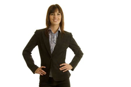 Young businesswoman in dark suit