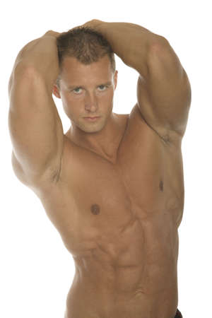 Muscular body builder arm and chest photo