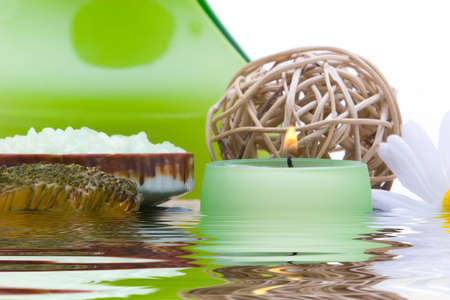 Spa objects with water reflection photo