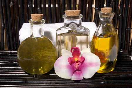 Essential body  oils in bottles for bodycare Stock Photo - 3117605