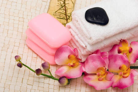 Spa towels, pink orchid and soaps Stock Photo - 3130068
