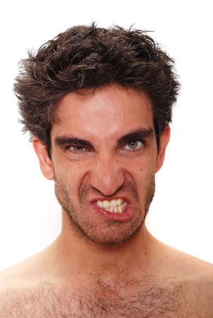 Man with angry facial expression photo