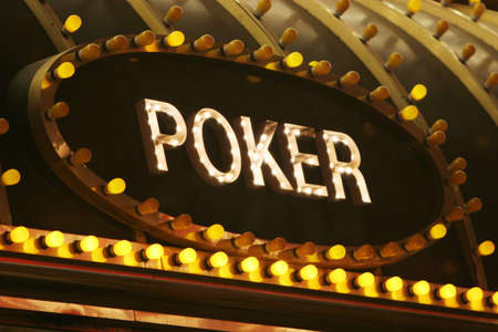 Neon light poker sign photo