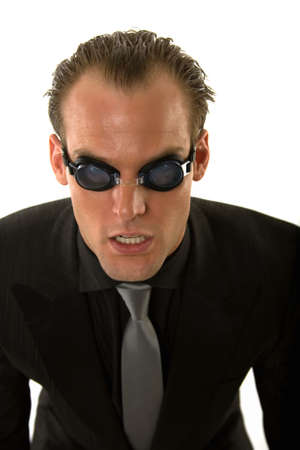 Ecstatic business person wearing goggles concept