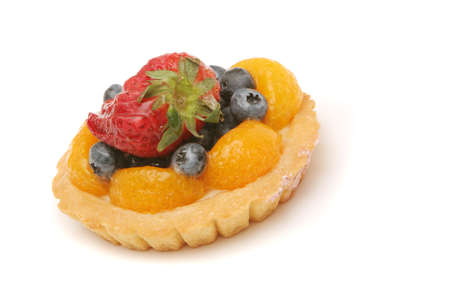 Delicious fruit tart decorated with berries photo