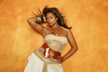Sexy African American woman in stylish dress photo