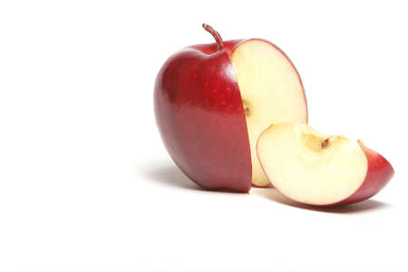 apple red: Red apple with a slice
