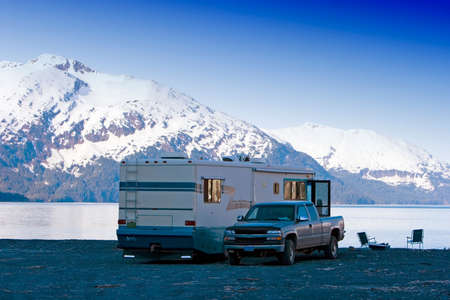 motorhome: Motor home by the Alaskan mountains Stock Photo