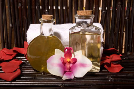 Essential body  oils in bottles for bodycare Stock Photo - 3171610