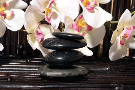 insent:  stones and orchid flowers on bamboo
