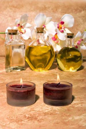 Essential body  oils in bottles for bodycare Stock Photo - 3170985