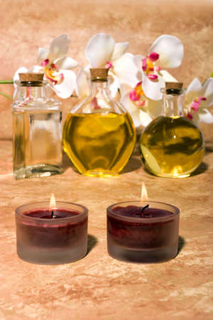 Essential body  oils in bottles for bodycare Stock Photo - 3170985