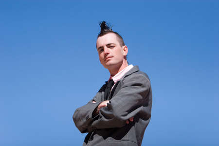 haircut: Businessman with alternative style haircut and outfit