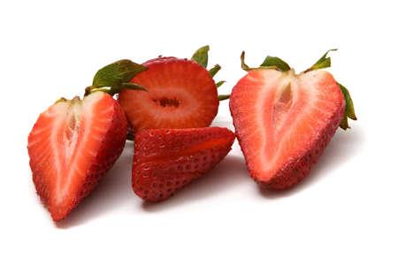 Organic strawberries on isolated white background photo