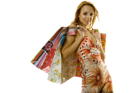Pretty woman with shopping bags photo