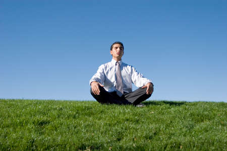 Businessman meditating on green grass Stock Photo - 3174986