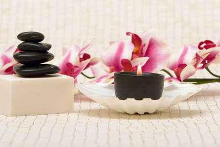 Spa stones, soap and lit candle in seashell Stock Photo - 3174437