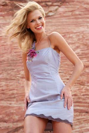 Beautiful woman in mini dress photo