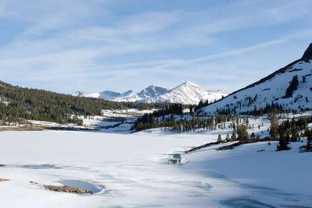 Snowy Sierra Nevada mountain peaks photo