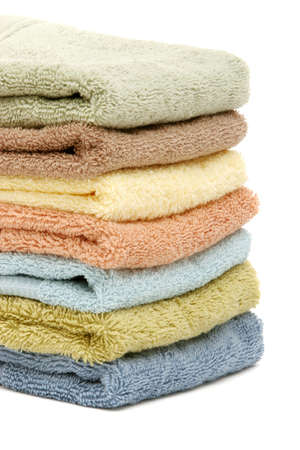 stacked up: Stacked up spa  bath towels isolated on white Stock Photo