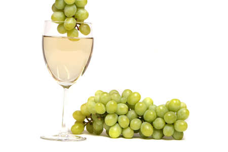 dipped: Green grapes dipped into white wine