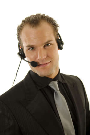 Successful young business with headphones photo