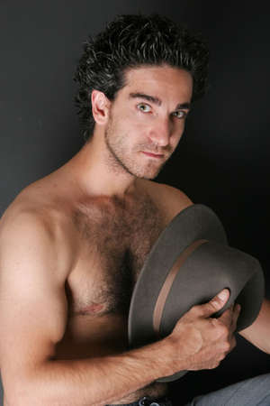 hairy chest: Man with hat