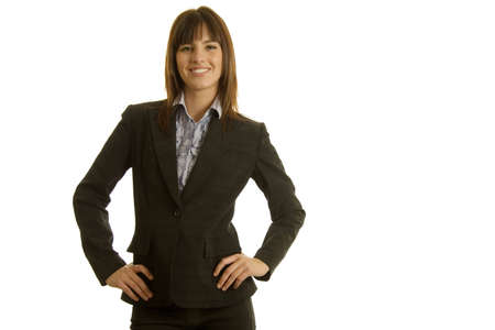 Young businesswoman in dark suit photo