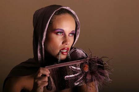 pouty: Beautiful glamourous woman model portrait Stock Photo