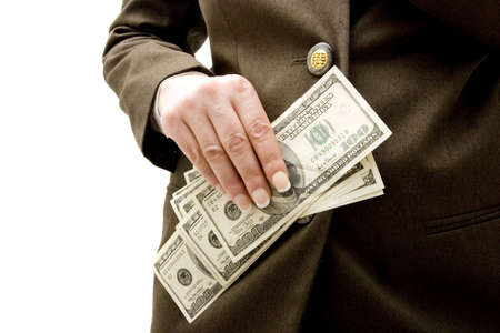 Businesswoman holding hundred dollar bills Stock Photo - 3364801