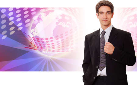 Successful businessman standing front of technology background photo
