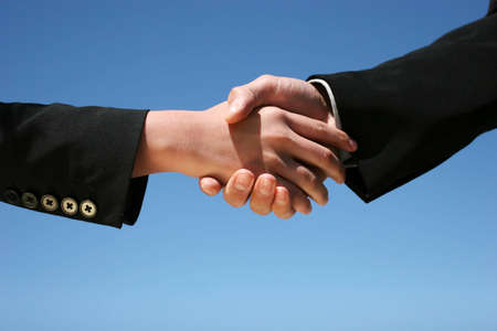 Businessman and businesswoman handshaking for agreement Stock Photo - 3378982