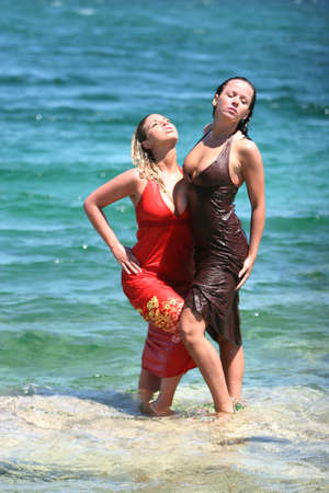 Sexy couple girls in water