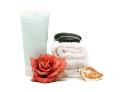 Spa towels, rose and cream on isolated white background Stock Photo - 3378960