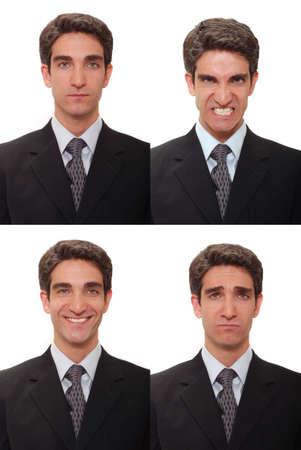 gezichts uitdrukkingen: Vier verschillende gezichtsuitdrukkingen