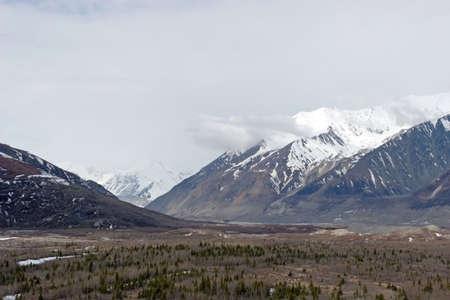 Snow melting on mountains in Alaska Range Stock Photo - 3391443