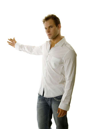 A young casual man giving speech Imagens