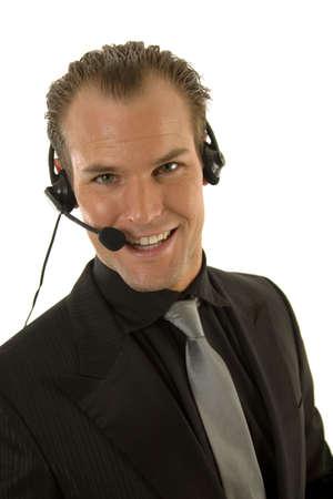 Businessman in dark suit communicating  Stock Photo - 3391012