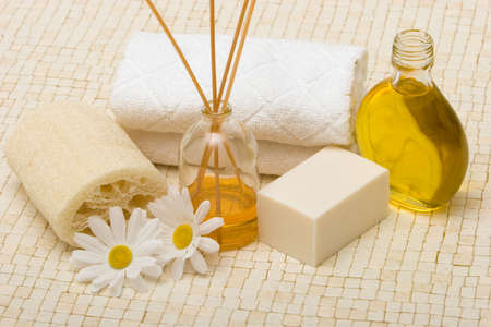 Spa towels, oils, loofah and soap Stock Photo - 3391420