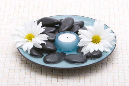 rejuvenating:  stones and daisies Stock Photo