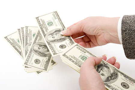 dollar bills: Imprenditrice azienda cento dollaro fatture  Archivio Fotografico