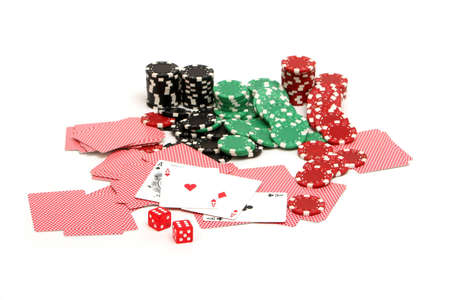 Colorful poker chips on white background Editorial