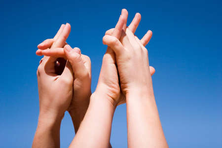 Group of people hands in the air Stock Photo - 3391596
