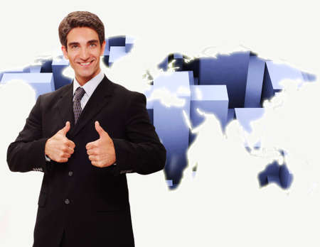 Successful businessman standing front of technology background Stock Photo - 3401220