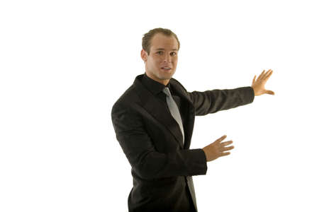 Successful young business person against white background photo